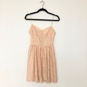Talula pink strapless buttoned floral lace dress 6